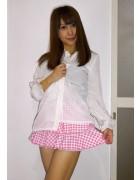 ☆結月こころ 直筆サイン入りチェック柄ミニスカート(ピンク×白)☆