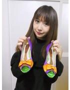 ☆結月こころ 直筆サイン入りリボンオープントゥパンプス(紫×オレンジ)☆