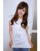 ☆倉沢 麻悠花直筆サイン入りハートネックレス柄半袖Tシャツ(白)☆