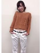 笹森陽菜さんが愛用した白いダボダボパンツと茶色いニットのセット。サイン入りチェキ付き!