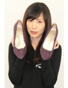 ☆七海ひより 直筆サイン入りツイードパンプス(紫×黒)☆