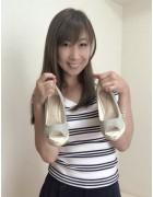 井村麻美 サイン入り オープントゥウエッジヒールパンプス水色