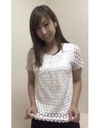井村麻美 サイン入り ホワイト花柄半袖カットソー