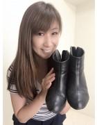 井村麻美 サイン入り ブラックツートンショートブーツ