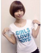 天野麻菜サイン入り白色半袖Tシャツ(青ロゴ)