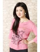 あんなサイン入り 七分丈ピンクTシャツ