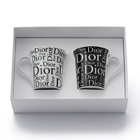 激安通販ロゴ入り 陶器 マグカップ 2点セット/Christian Dior