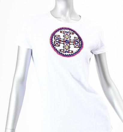 激安通販半袖ビーズロゴTシャツ/Tory BurchTory Burchトリーバーチ