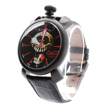 激安通販ステンレス・カーフベルト イタリア製手巻き腕時計/GAGA MILANOGAGA MILANOガガミラノ