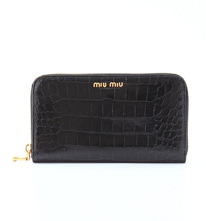 激安通販長財布(クロコ型押ラウンドファスナー)/MIUMIUMIUMIUミュウミュウ