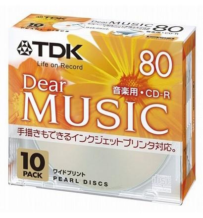 【クリックで詳細表示】TDK 音楽用CD-R 80分 インクジェットプリンタ対応(パールカラー・ワイド印刷仕様) 10枚パック CD-RDE80PPX10N