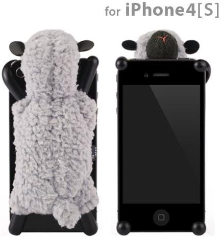 シマシマ iPhone 4S 4用モコモコ羊のぬいぐるみiPhoneカバー☆Sheepy☆シーピー(ライトグレー)