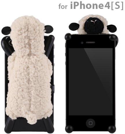 シマシマ iPhone 4S 4用モコモコ羊のぬいぐるみiPhoneカバー☆Sheepy☆シーピー(アイボリー)