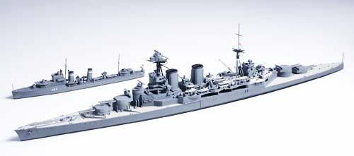 1/700 イギリス海軍巡洋戦艦フッド & E級駆逐艦 北大西洋追撃作戦