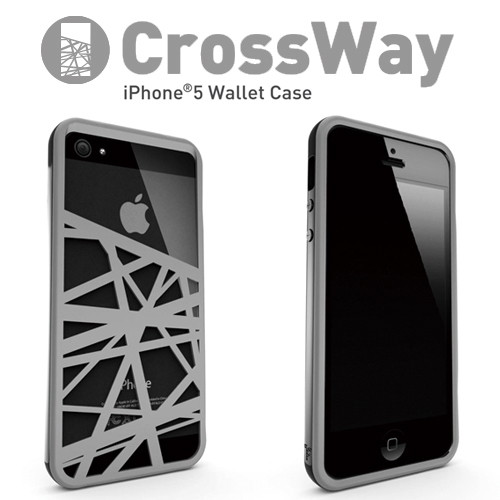 iPhone5/5s専用 マネークリップ機能付きケース Felix CrossWay ブラック/グレー