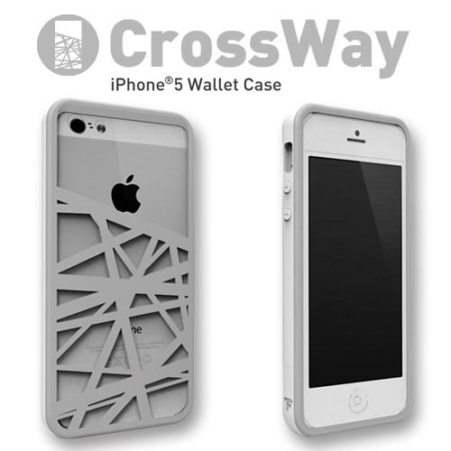 iPhone5/5s専用 マネークリップ機能付きケース Felix CrossWay ホワイト/グレー