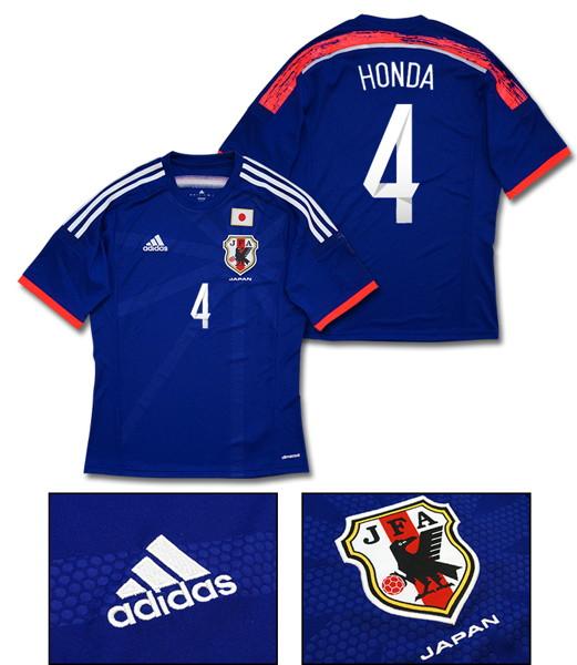 【No.4 HONDA(本田圭佑)】adidas 2014 日本代表 ホーム 半袖 レプリカ ユニフォーム [Oサイズ]