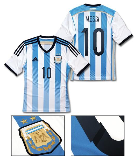 【No.10 MESSI 】adidas 2014 アルゼンチン 代表 ホーム 半袖 レプリカ ユニフォーム [Lサイズ]