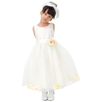 ノースリーブフラワー ミディアムドレス ホワイト