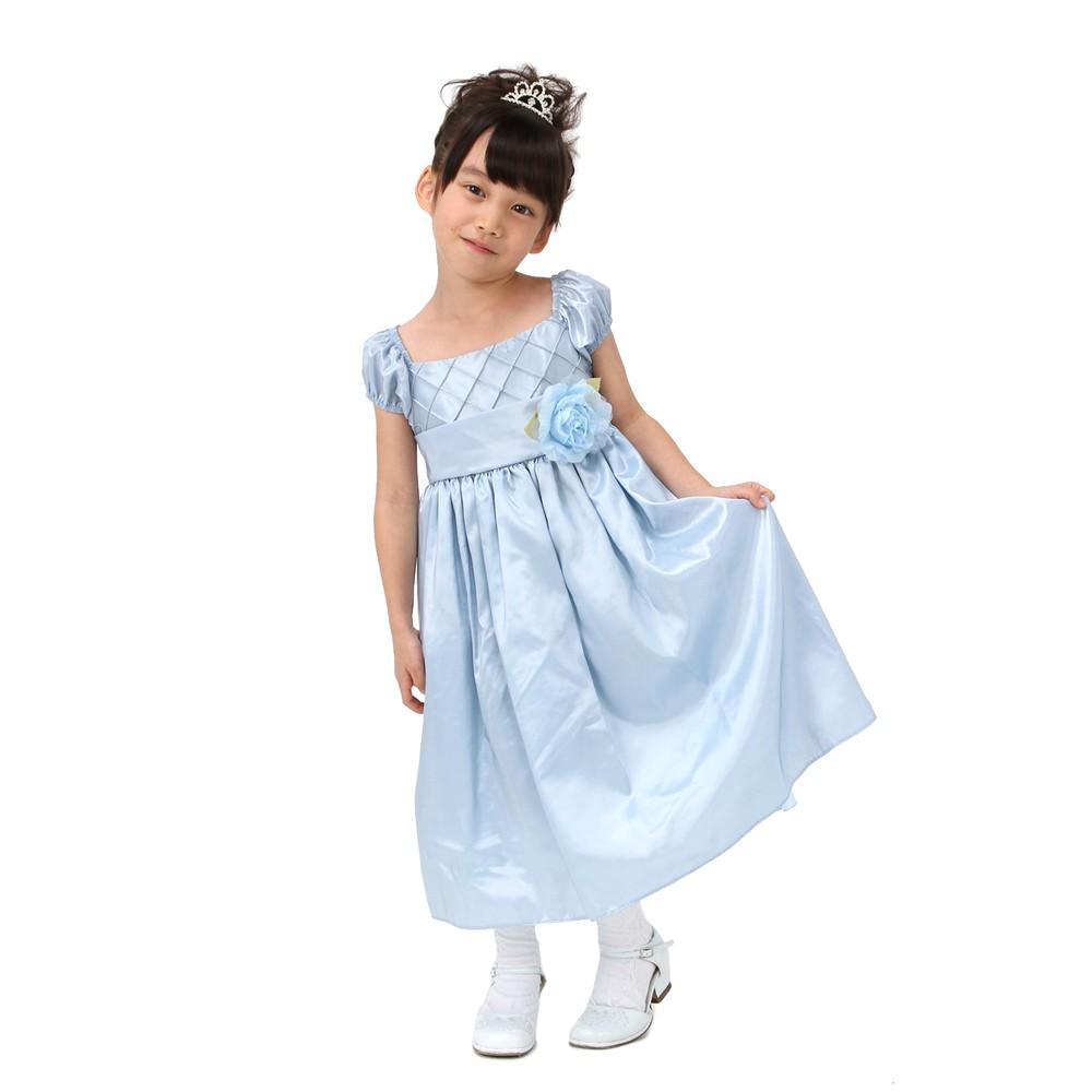 【キッズ】 クロスライン ロングドレス ブルー