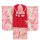 【キッズ】七五三/節句 3才 被布セット しっとり 桜美 ピンク×レッド