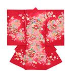 【ベビー】お宮参り 正絹 女のしめ 桜 鞠 レッド