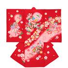 【ベビー】お宮参り 正絹 女のしめ 古典模様 桜 レッド