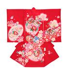 【ベビー】お宮参り 正絹 女のしめ 短冊 桜 レッド