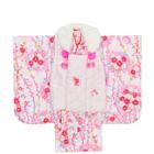 【キッズ】七五三/節句 3才 被布セット しだれ桜 牡丹模様 ホワイト×ピンク