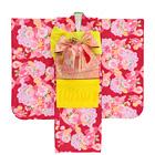 【キッズ】七五三/節句 7才 着物セット 牡丹 満開の花 レッド×ピンク