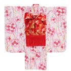 【キッズ】七五三/節句 7才 着物セット 短冊風 流れ桜 ホワイト