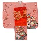 【キッズ】七五三/節句 7才 着物セット 豪華帯 色彩豊か花々 レッド