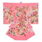 【ベビー】お宮参り 正絹 女のしめ 花 輝糸 ピンク