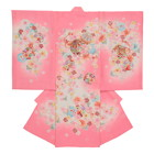 【ベビー】お宮参り 正絹 女のしめ 桜模様 金刺繍 ピンク