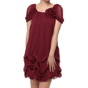 f-mode 袖付き裾つまみバルーンフォーマル ミニドレス レッド