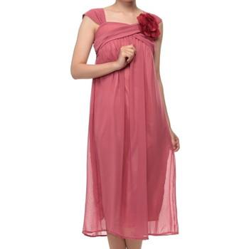 f-mode コサージュ付きプリーツ ミディアムドレス ピンク