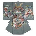 【ベビー】お宮参り 正絹 男のしめ 龍 亀甲紋 グレー