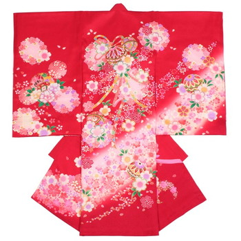 【ベビー】お宮参り 正絹 女のしめ 桜 金糸 レッド