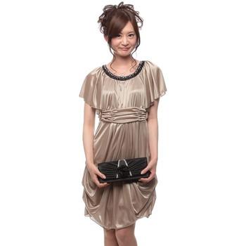 【3点セット】f-mode 胸元ビジューストーン付き ドレープ風 シルクサテン ミニドレス ベージュ
