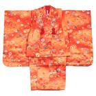 【キッズ】七五三/節句 3才 被布セット 花柄 菊 オレンジ