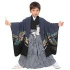 【キッズ】七五三/節句 5才 男児袴セット 鷹 鼓 ネイビー