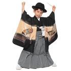 【キッズ】七五三/節句 5才 男児袴セット 金色模様 兜 ブラック