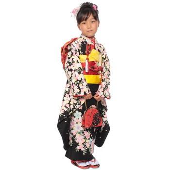 【キッズ】七五三/節句 7才 着物セット 満開桜 華麗 ブラック