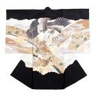 【ベビー】お宮参り 正絹 男のしめ 鷹 宝船 ブラック