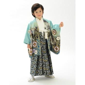【キッズ】七五三/節句 5才 男児袴セット 鷹 七宝 ライトブルー