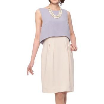 GRACE CONTINENTAL バックリボン切替ワンピース風 ミディアムドレス ベージュ&ライトブルー