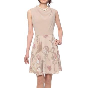 GRACE CONTINENTAL ローズグラデプリントワンピース風 ミディアムドレス ベージュ