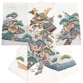 【ベビー】お宮参り 正絹 男のしめ 大兜 亀甲紋 ホワイト