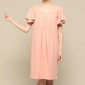 スウィートマミー フリル袖 胸元タック マタニティドレス ピンク