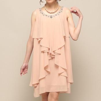 【2点セット】アウトリーチェソワニエ 衿ビジュー ドレープ ミディアムドレス ピンク